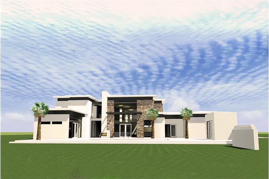 Color rendering of Modern home plan (ThePlanCollection: House Plan #116-1080)