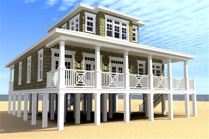 116-1086: Home Plan Rear Elevation