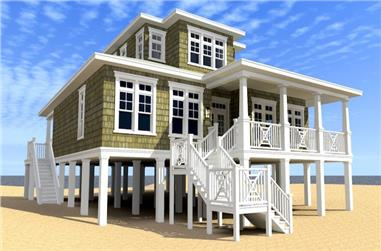2-Bedroom, 2616 Sq Ft Coastal House Plan - 116-1086 - Front Exterior