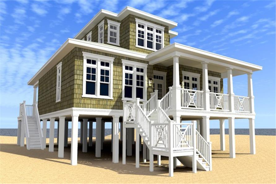 Front elevation of Coastal home (ThePlanCollection: House Plan #116-1086)