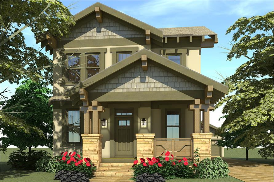 Color rendering of Arts and Crafts home plan (ThePlanCollection: House Plan #116-1087)
