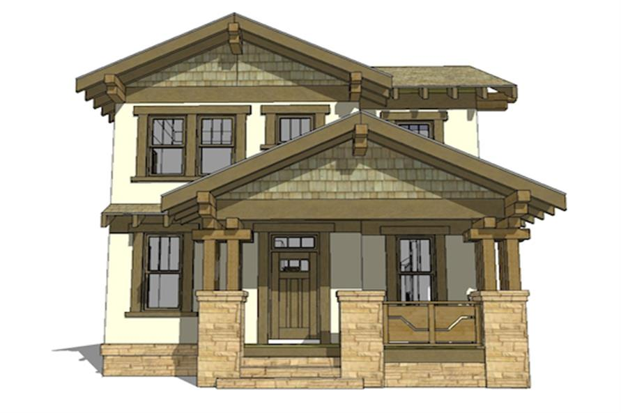 Front elevation of Arts and Crafts home (ThePlanCollection: House Plan #116-1087)