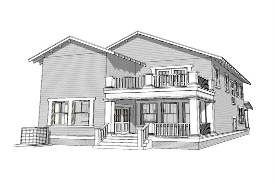 Home Plan Rear Elevation of this 3-Bedroom,2080 Sq Ft Plan -116-1088