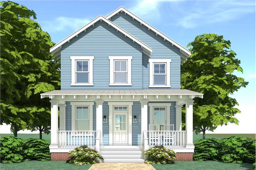 Color rendering of Farmhouse home plan (ThePlanCollection: House Plan #116-1088)