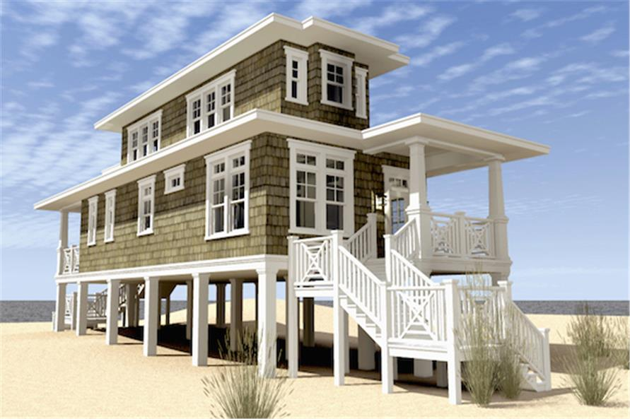 Home Plan Left Elevation of this 2-Bedroom,1283 Sq Ft Plan -116-1089