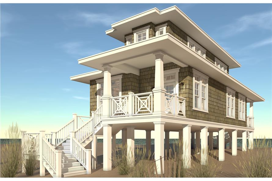 Color rendering of Beachfront home plan (ThePlanCollection: House Plan #116-1089)