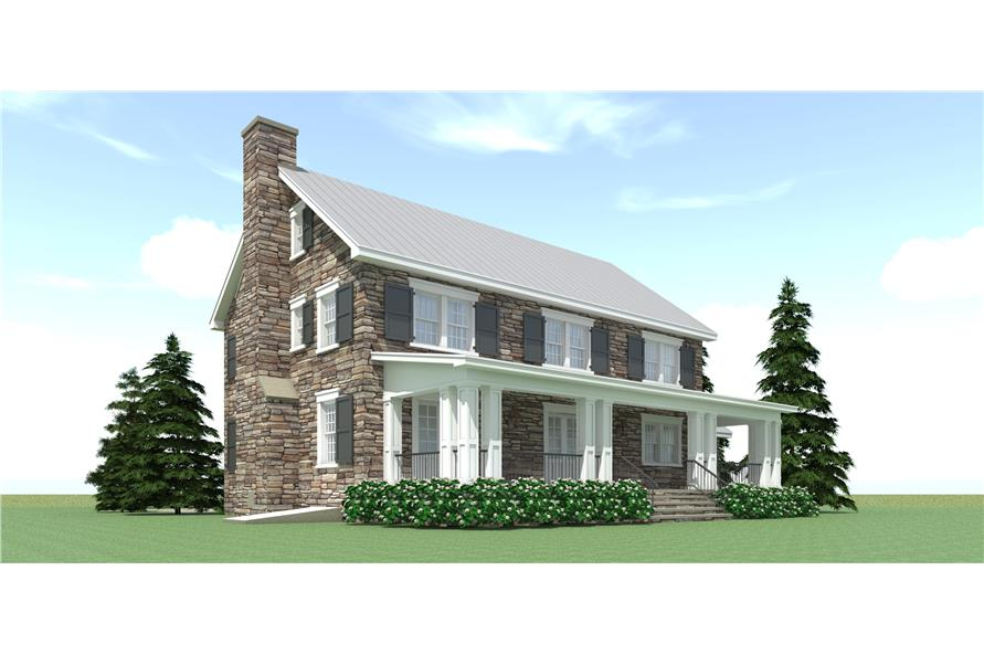 116-1090: Home Plan Rear Elevation