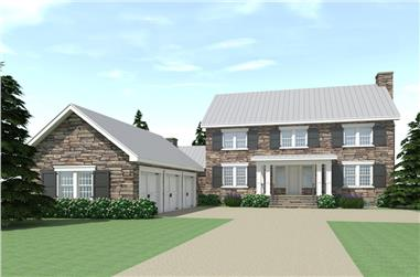 Color rendering of Farmhouse home plan (ThePlanCollection: House Plan #116-1090)
