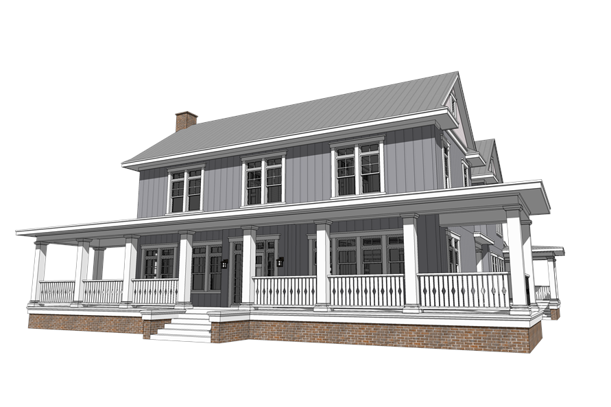116-1092: Home Plan Rear Elevation