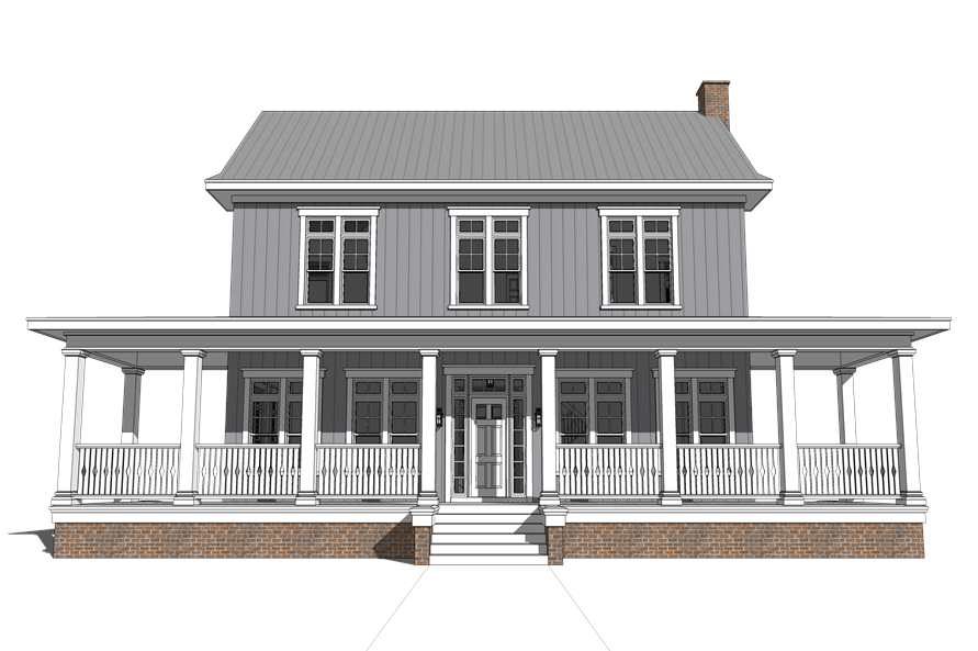 Front elevation of Traditional home plan (ThePlanCollection: House Plan #116-1092)