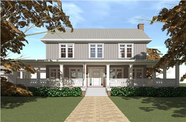 Color rendering of Traditional home plan (ThePlanCollection: House Plan #116-1092)