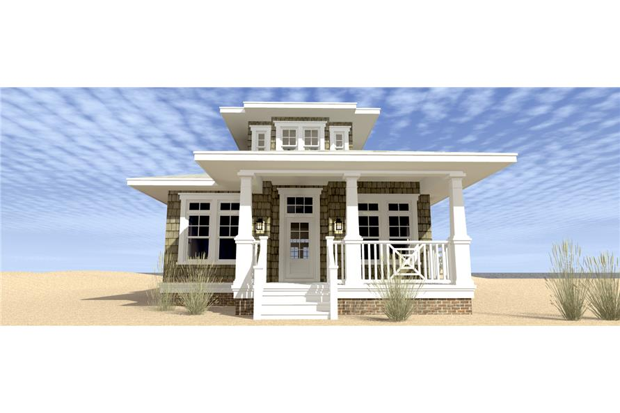 Front elevation of Coastal home (ThePlanCollection: House Plan #116-1093)