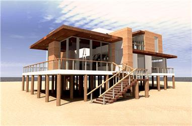 4-Bedroom, 2490 Sq Ft Beachfront Home Plan - 116-1094 - Main Exterior