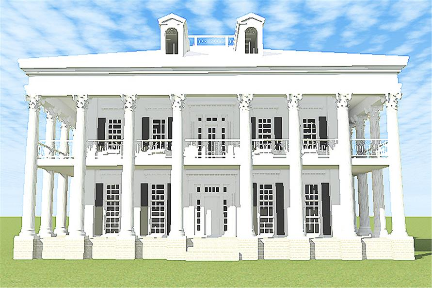 Front rendering of Traditional home plan (ThePlanCollection: House Plan #116-1097)