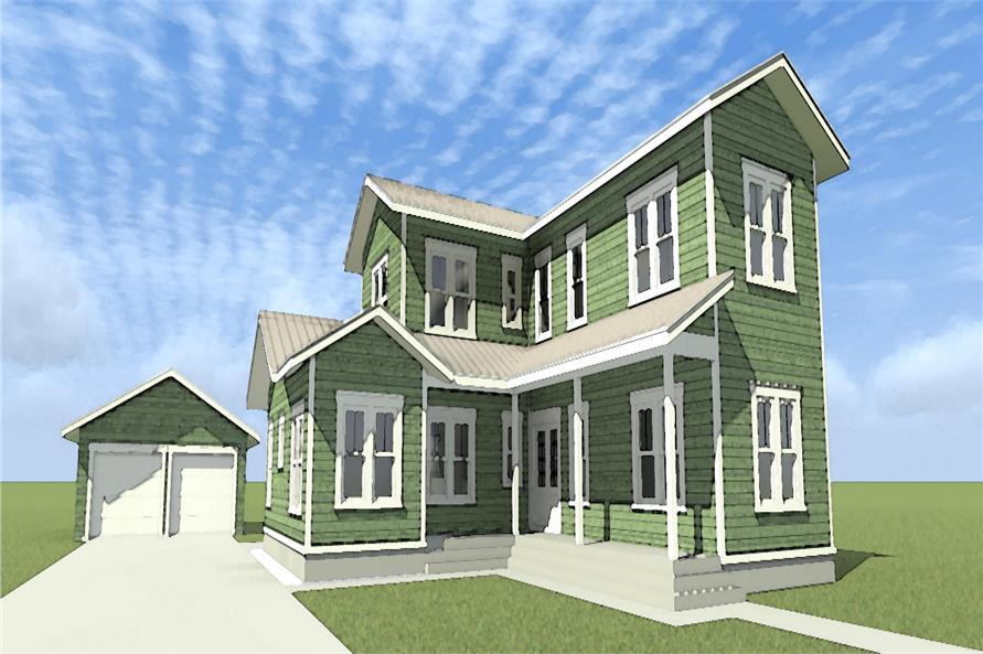 Front elevation of Craftsman home (ThePlanCollection: House Plan #116-1098)