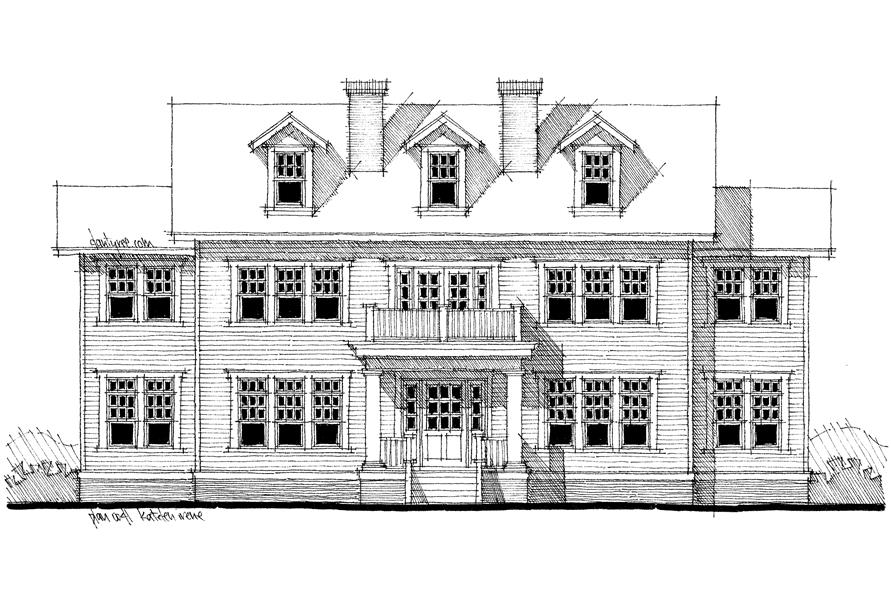 Home Plan Front Elevation of this 4-Bedroom,3347 Sq Ft Plan -116-1099