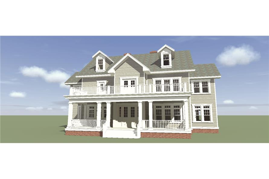 Home Plan Rear Elevation of this 4-Bedroom,3347 Sq Ft Plan -116-1099