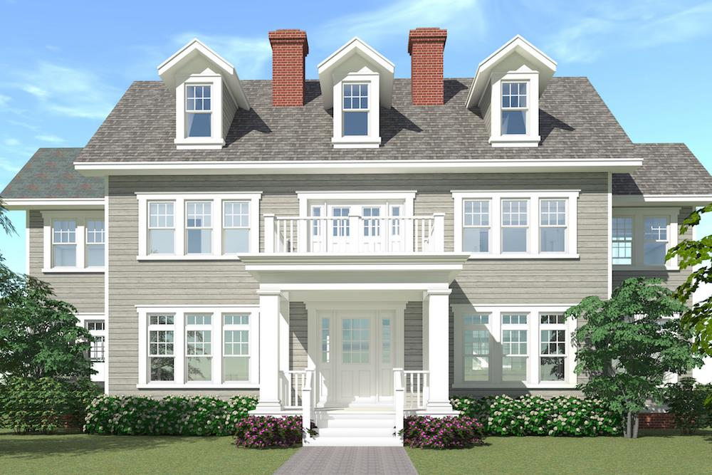Color illustration of Colonial home plan (ThePlanCollection: House Plan #116-1099)