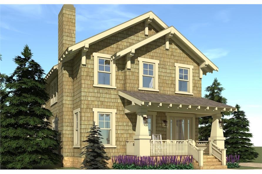 Photo-realistic rendering of Craftsman home plan (ThePlanCollection: House Plan #116-1102)