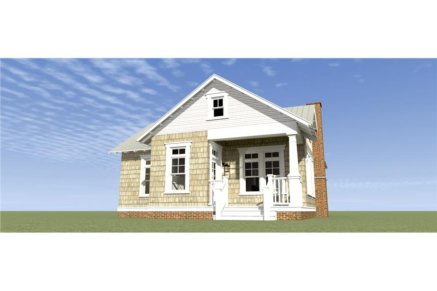 Home Plan Rear Elevation of this 1-Bedroom,841 Sq Ft Plan -116-1103