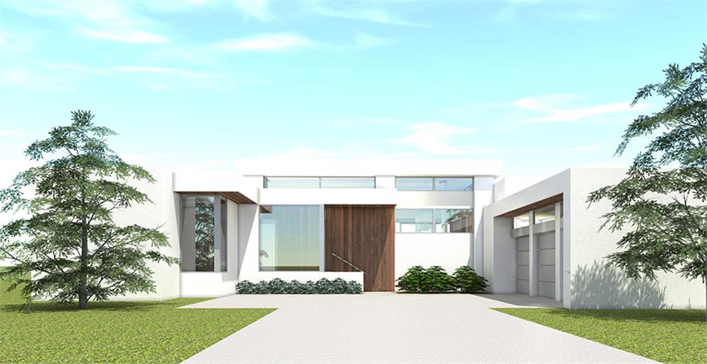 Front elevation of Modern home (ThePlanCollection: House Plan #116-1107)