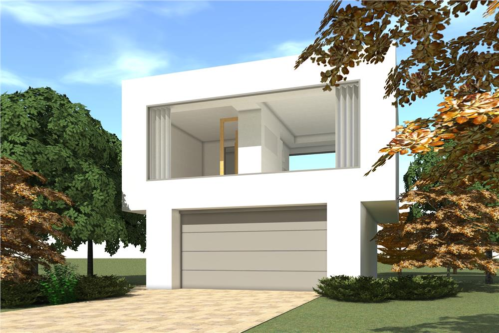 Color rendering of Garage w/Apartment home plan (ThePlanCollection: House Plan #116-1117)