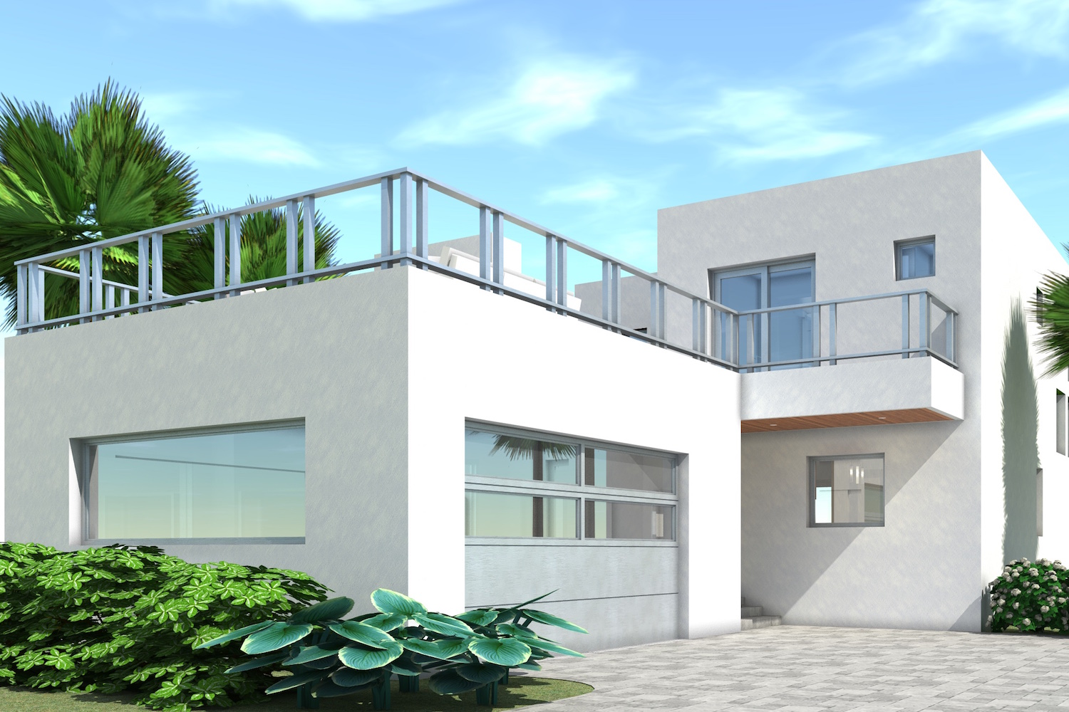 116 1122 · color rendering of modern home plan theplancollection house plan 116 1122