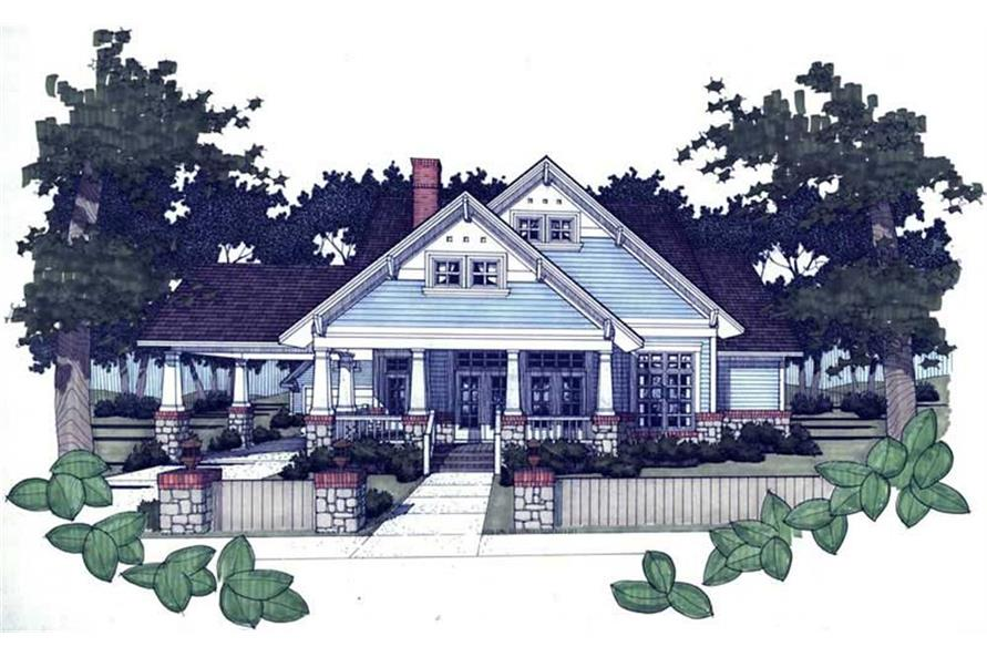 117-1001 house plan front rendering