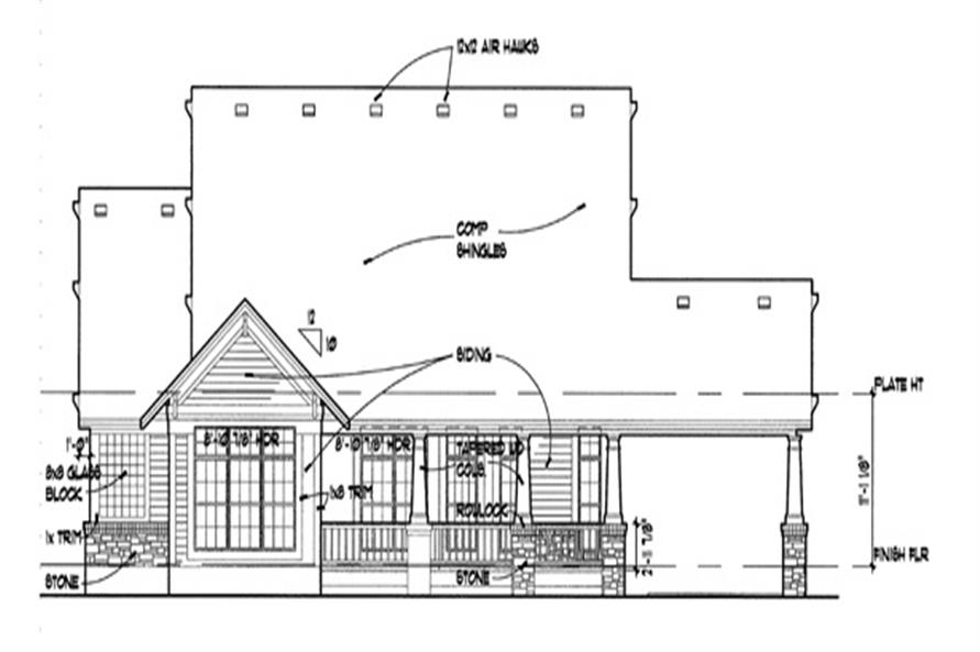 Home Plan Rear Elevation of this 3-Bedroom,1657 Sq Ft Plan -117-1001