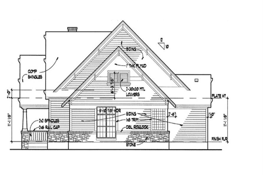 Home Plan Right Elevation of this 3-Bedroom,1657 Sq Ft Plan -117-1001