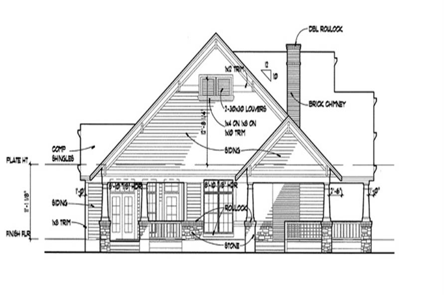Home Plan Left Elevation of this 3-Bedroom,1657 Sq Ft Plan -117-1001