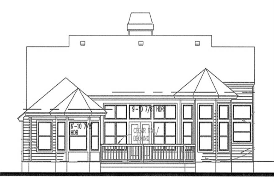 117-1008: Home Plan Rear Elevation