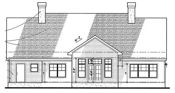 117-1010: Home Plan Rear Elevation