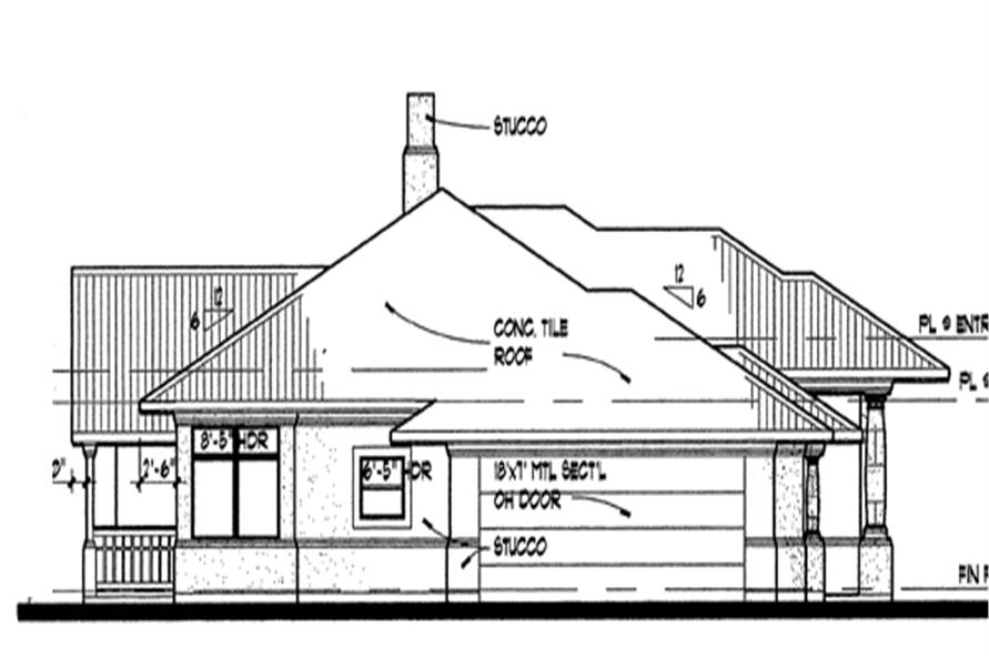 Home Plan Left Elevation of this 3-Bedroom,1830 Sq Ft Plan -117-1012