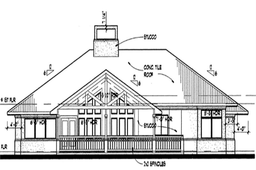 Home Plan Rear Elevation of this 3-Bedroom,1830 Sq Ft Plan -117-1012