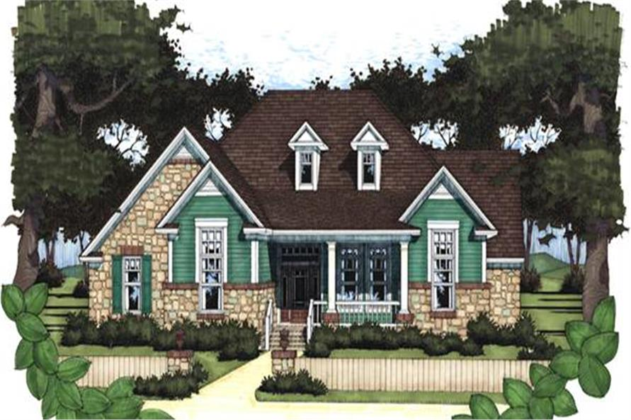 Front elevation of Traditional home (ThePlanCollection: House Plan #117-1017)