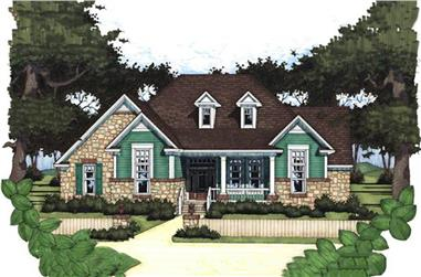 Color rendering of Traditional home plan (ThePlanCollection: House Plan #117-1017)