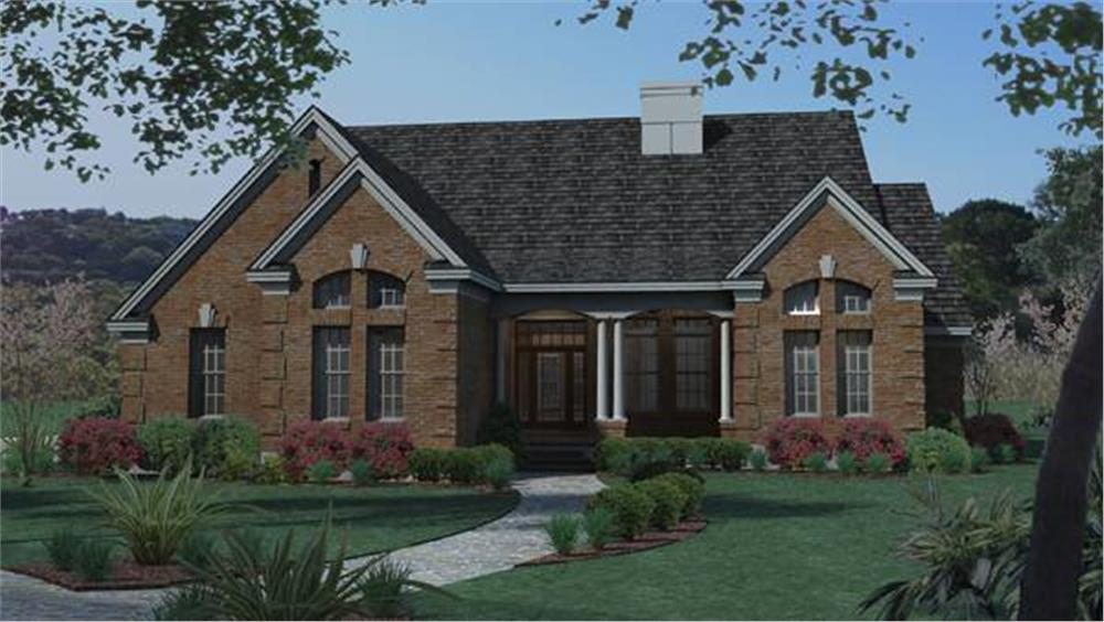 Front elevation of Traditional home (ThePlanCollection: House Plan #117-1018)