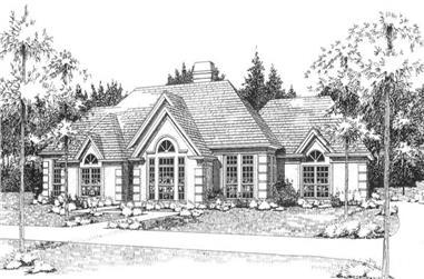 3-Bedroom, 2198 Sq Ft European House Plan - 117-1026 - Front Exterior