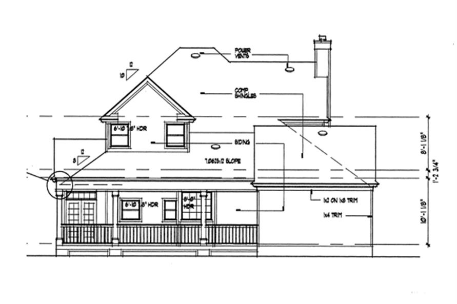 Home Plan Rear Elevation of this 3-Bedroom,2112 Sq Ft Plan -117-1030