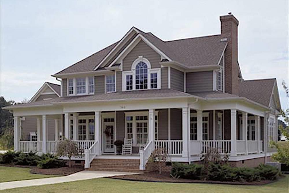 Farmhouse home (ThePlanCollection: Plan #117-1030)