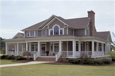 Front elevation of Farmhouse home (ThePlanCollection: House Plan #117-1030)