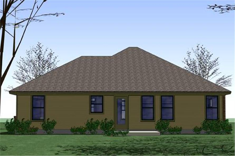 Home Plan Rear Elevation of this 3-Bedroom,1329 Sq Ft Plan -117-1035