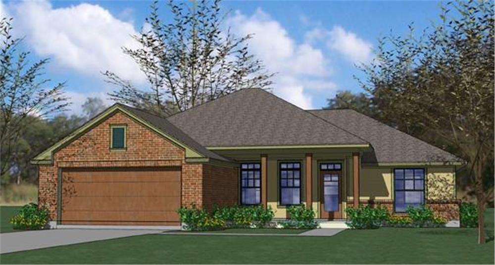 Front elevation of Small House Plans home (ThePlanCollection: House Plan #117-1035)