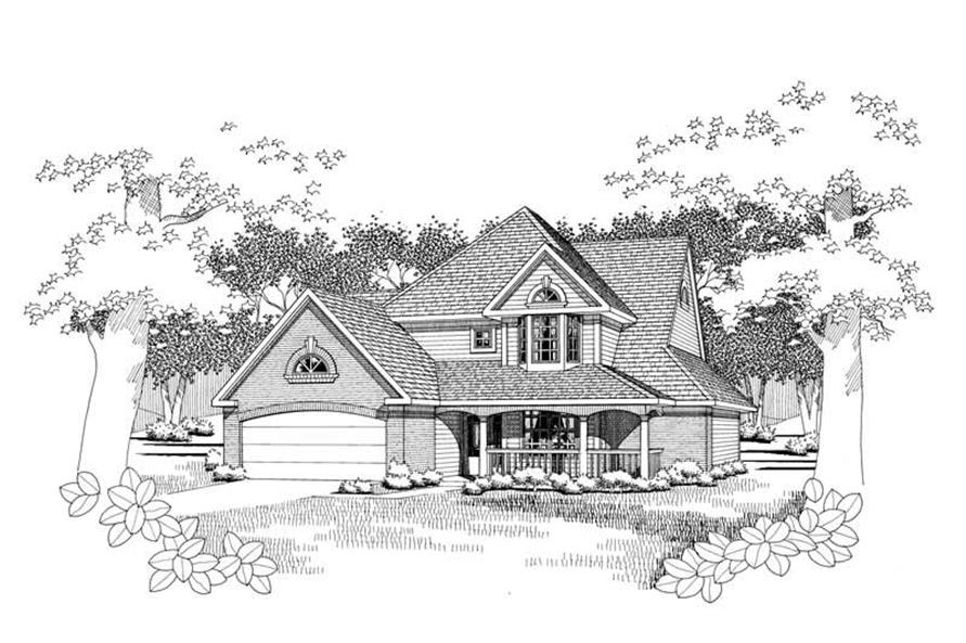 Front elevation of Traditional home (ThePlanCollection: House Plan #117-1038)