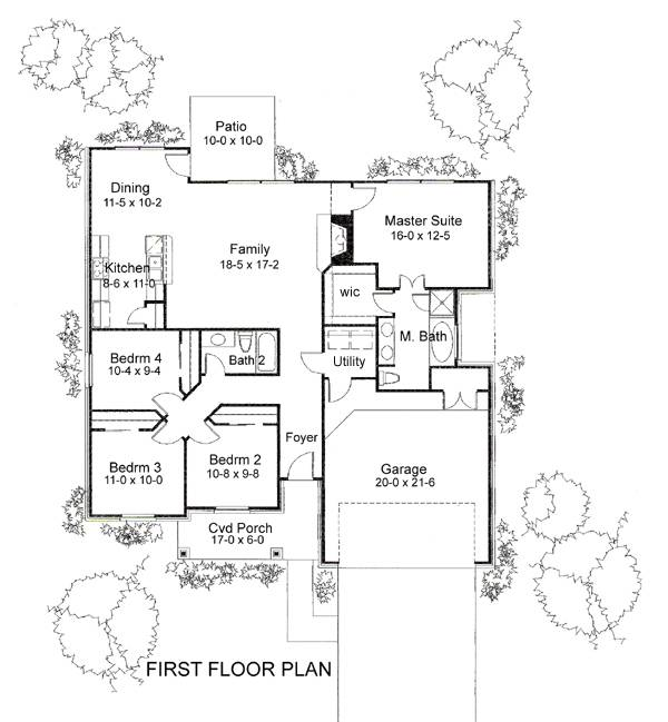 Charming 4 bedroom ranch house plan with 1553 sq ft plan for 1040 square foot house plans