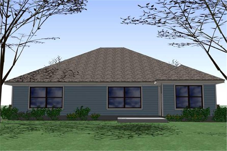 Home Plan Rear Elevation of this 4-Bedroom,1553 Sq Ft Plan -117-1040
