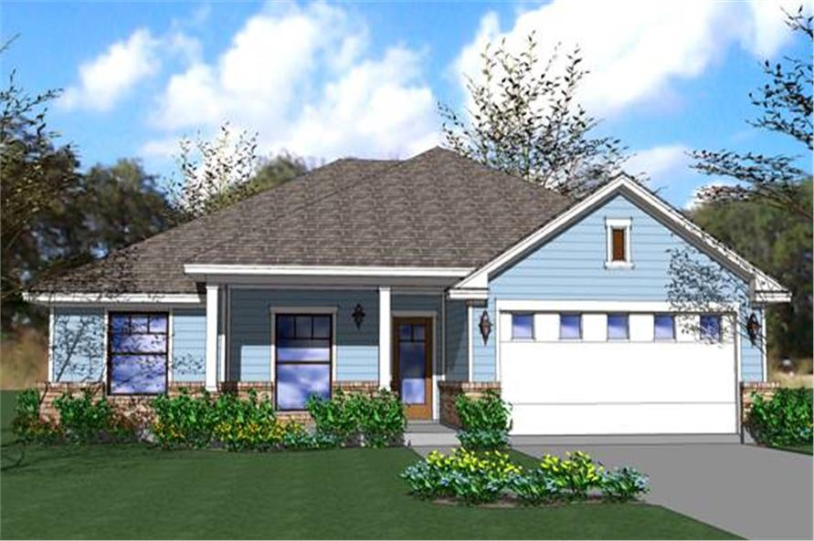 4-Bedroom, 1553 Sq Ft Ranch House Plan - 117-1040 - Front Exterior