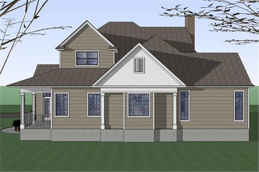 Home Plan Rear Elevation of this 3-Bedroom,2543 Sq Ft Plan -117-1042