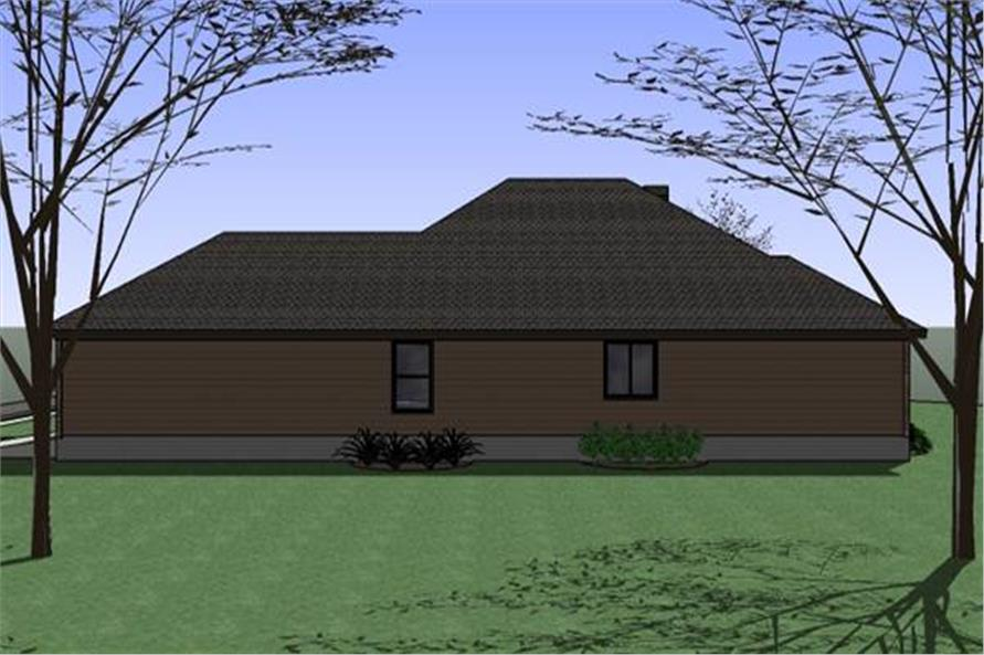 Home Plan Rear Elevation of this 4-Bedroom,1512 Sq Ft Plan -117-1047